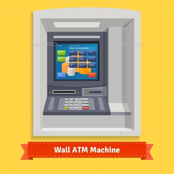 Wall Mounted Outdoor ATM Machine - Objects Vectors