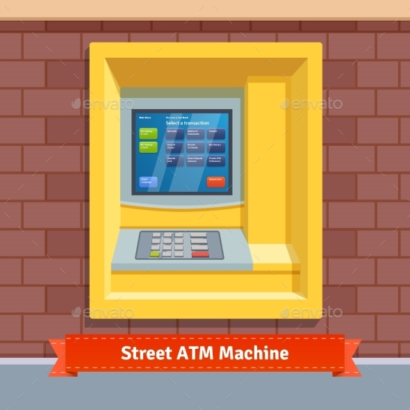 Brick Wall Mounted Outdoor ATM Machine - Objects Vectors