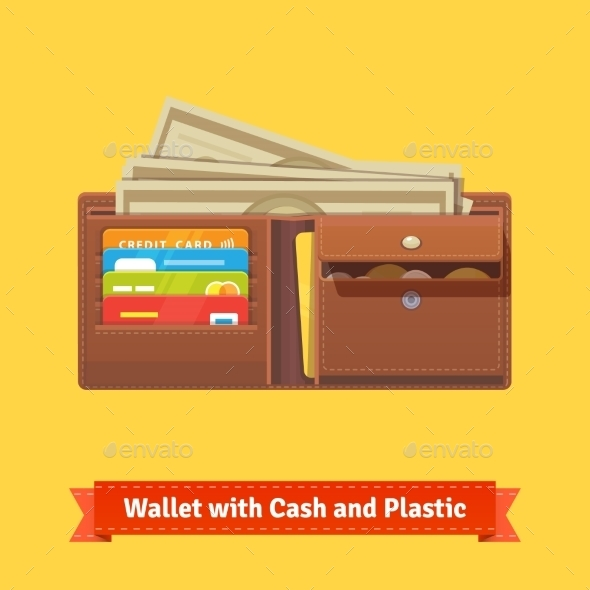 Leather Wallet With Some Money And Credit Cards - Business Conceptual