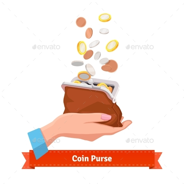 Coin Rain To a Purse In Woman Hand - People Characters