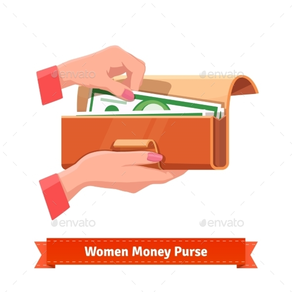 Woman Hands Taking Out Banknote From a Purse - People Characters