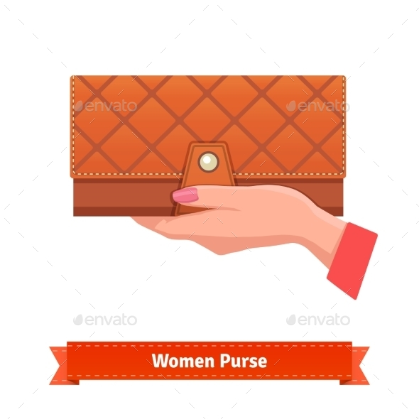 Woman Hand Holding Luxury Leather Purse - People Characters