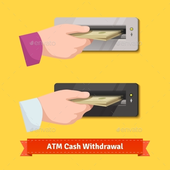 Human Hand Putting Banknotes To ATM Cash Validator - Conceptual Vectors