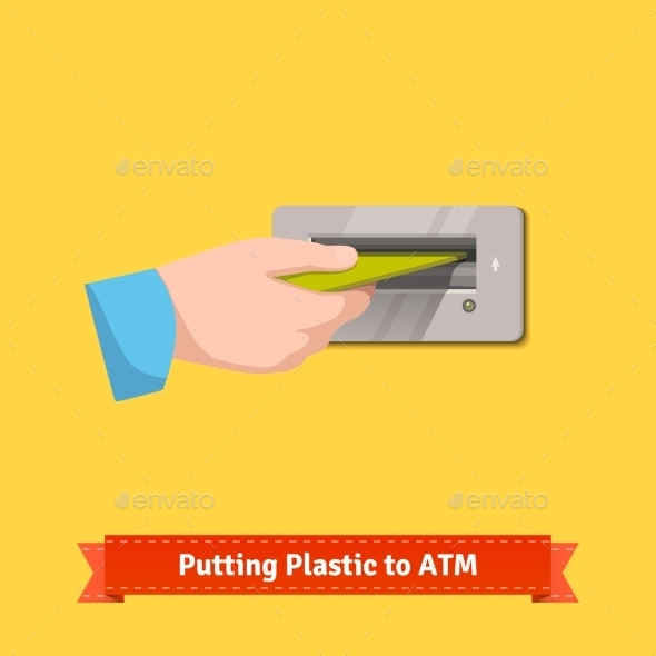 Male Hand Putting Credit Card To ATM Machine Slot - People Characters