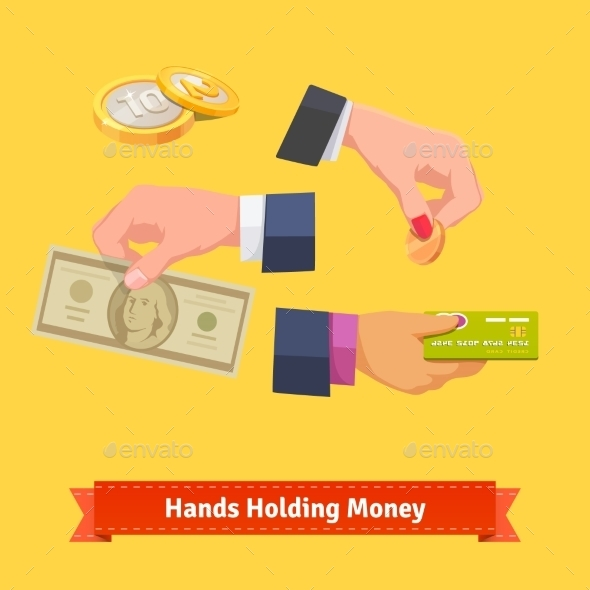 Hands Holding Money, Banknote, Coin, Credit Card - Business Conceptual