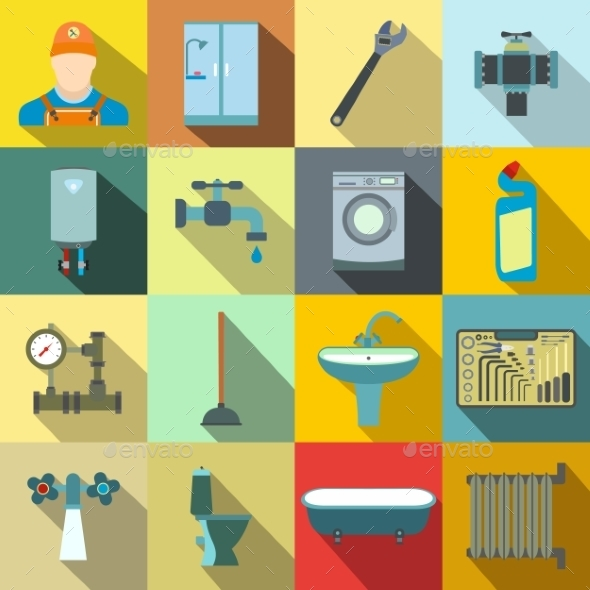 Sanitary Engineering Flat Icons - Miscellaneous Icons