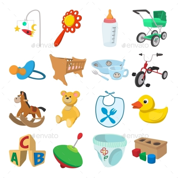 Baby Cartoon Icons Set - Miscellaneous Icons
