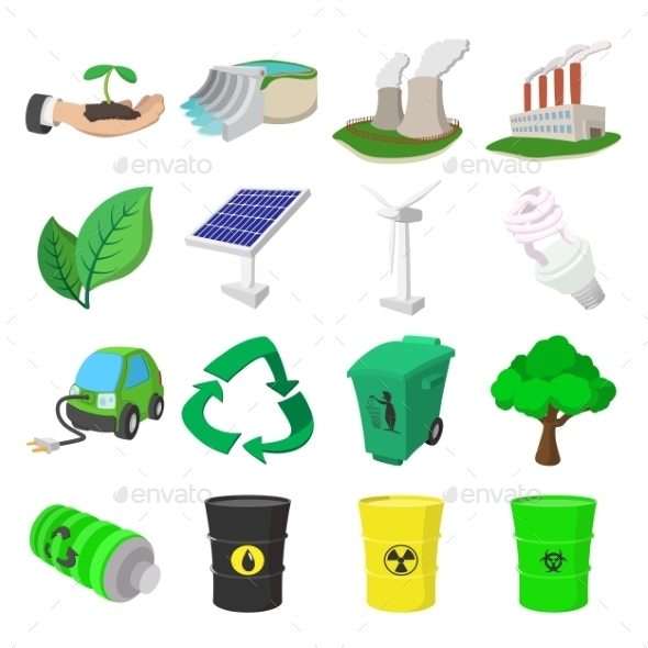 Ecology Cartoon Icons Set  - Miscellaneous Icons