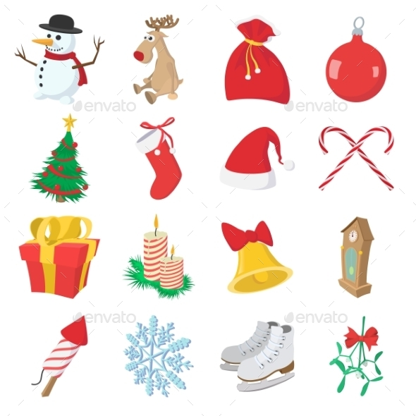Christmas Cartoon Icons Set - Miscellaneous Icons