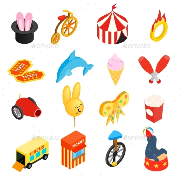 Circus Isometric 3d Icons Set - Miscellaneous Icons