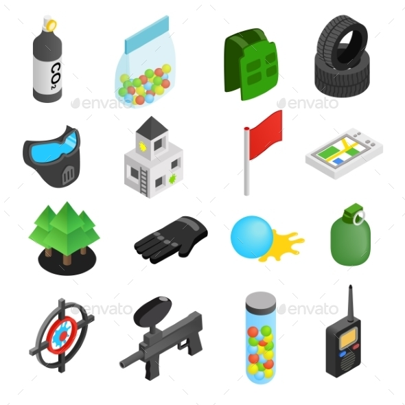 Paintball Game Isometric 3d Icons - Miscellaneous Icons
