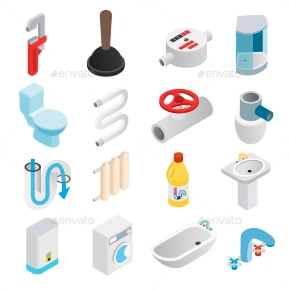 Sanitary Engineering Isometric 3d Icons - Miscellaneous Icons
