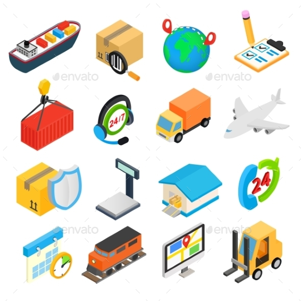 Logistics Isometric 3d Icons - Miscellaneous Icons