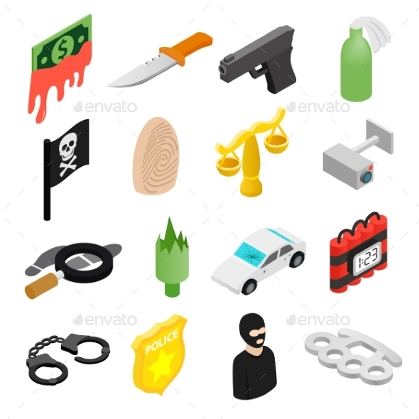 Crime Isometric 3d Icons - Miscellaneous Icons
