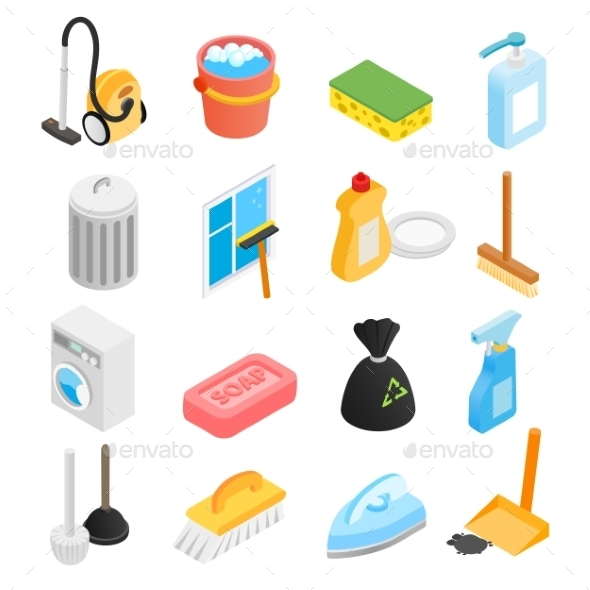 Cleaning Isometric 3d Icons - Miscellaneous Icons