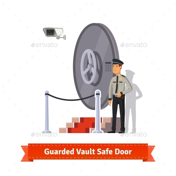 Vault Safe Door Guarded By An Officer In Uniform - Industries Business