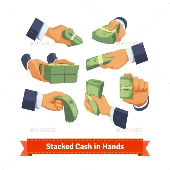 Hand Poses Giving, Taking Or Showing Cash Stacks - Concepts Business
