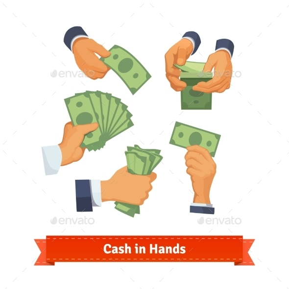 Hand Poses Counting, Taking And Showing Green Cash - Concepts Business