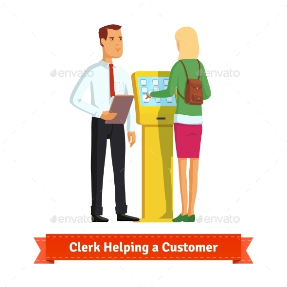 Clerk Helping Woman At The Information Kiosk - People Characters