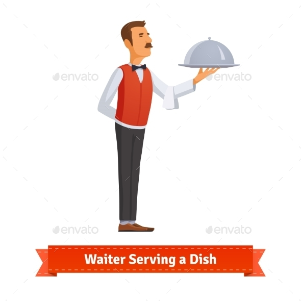 Waiter In a Bow-tie Serving Dish On Silver Platter - People Characters