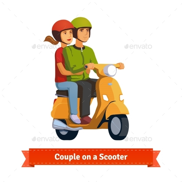 Couple On a Scooter. Happy Riding Together - People Characters