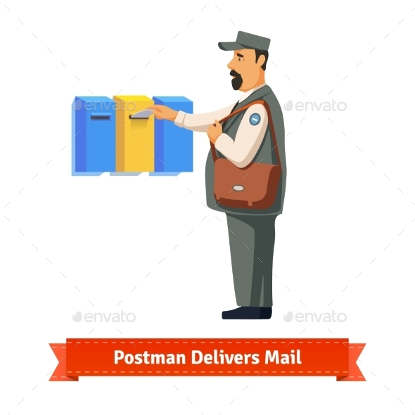 Postman Delivers Letter To a Colorful  Mailbox - People Characters