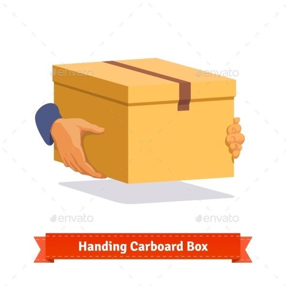 Hands Carrying a Cardboard Box Delivery - Objects Vectors