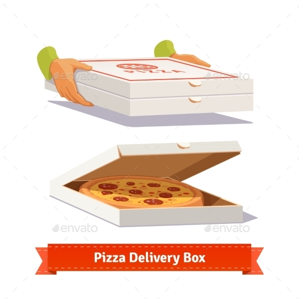 Pizza Delivery. Handing a Pizza Boxes - Man-made Objects Objects