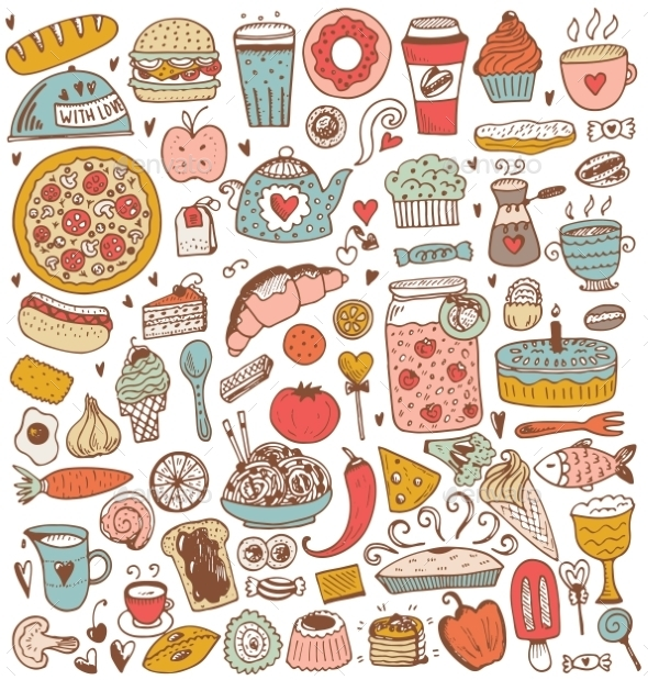 Food Sketch Elements Collection - Food Objects