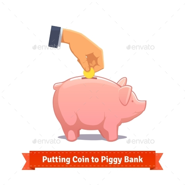 Hand Putting Coin To a Pink Piggy Bank - Objects Vectors