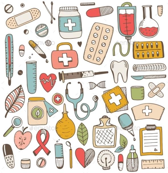 Health Care And Medicine Elements Set - Health/Medicine Conceptual