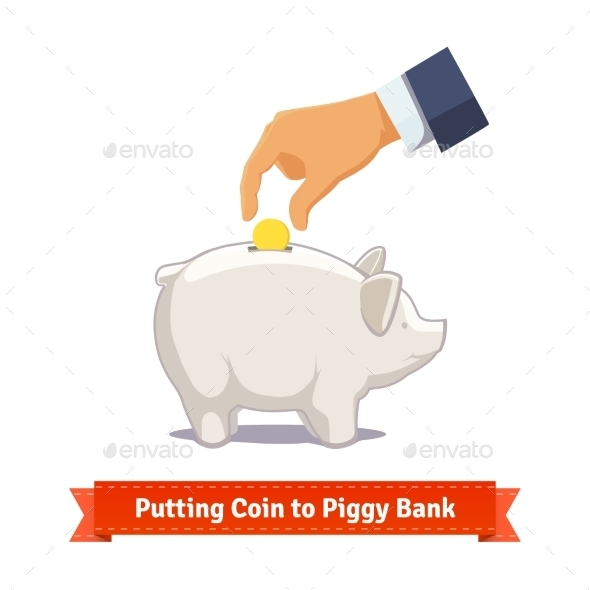 Hand Putting Coin To a White Piggy Bank - Objects Vectors
