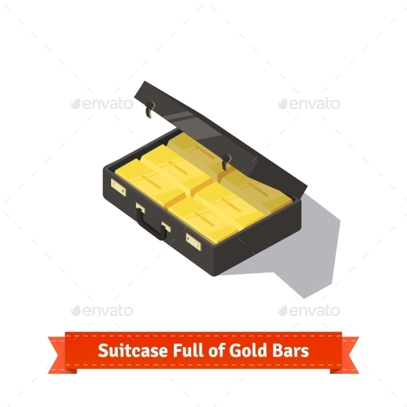 Suitcase Full Of Gold Bars. Dollars Stacks  - Objects Vectors