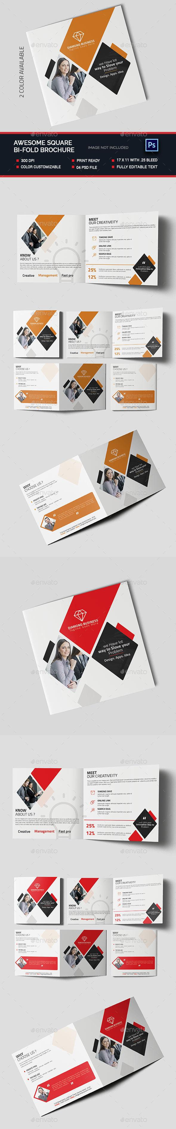 Awesome Square Bi-fold Brochure  - Brochures Print Templates