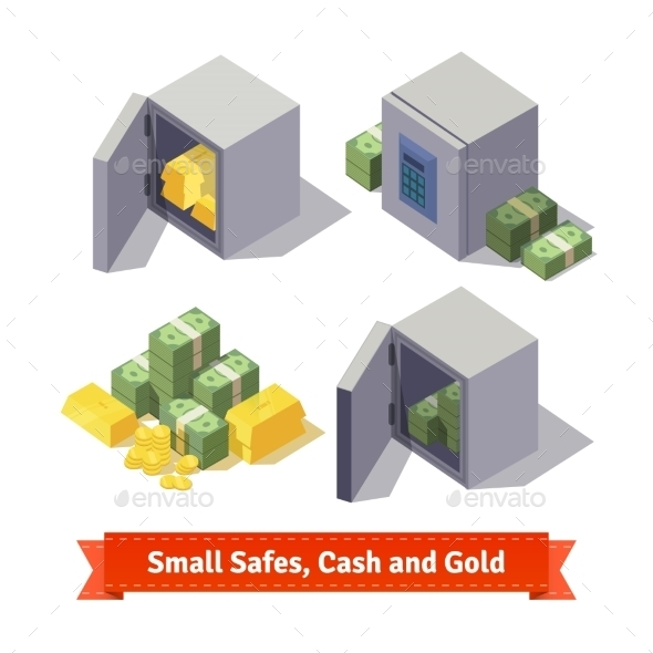 Small Safes With Gold Bars And Cash - Objects Vectors