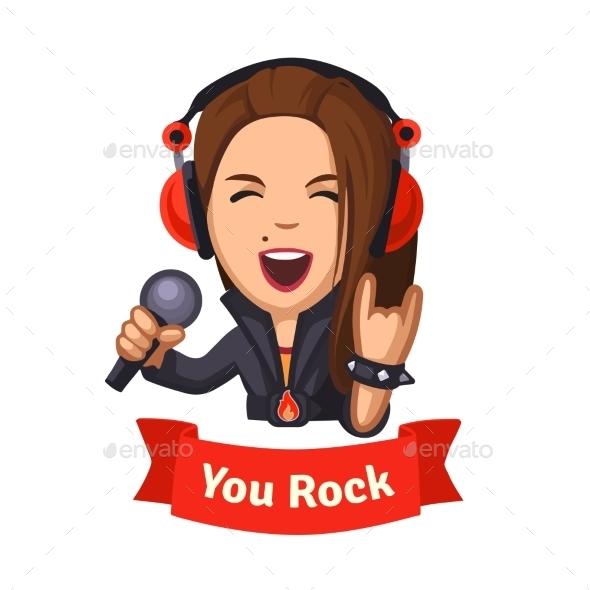 Hard Rocking Singer Girl - People Characters