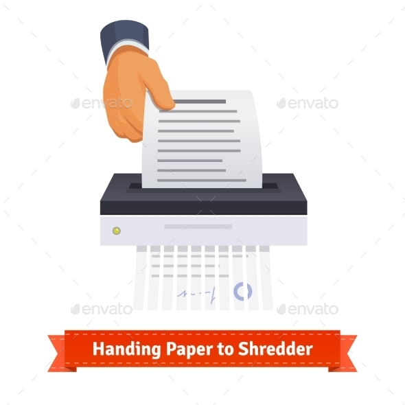 Man Handing Paper To Shredder - Concepts Business