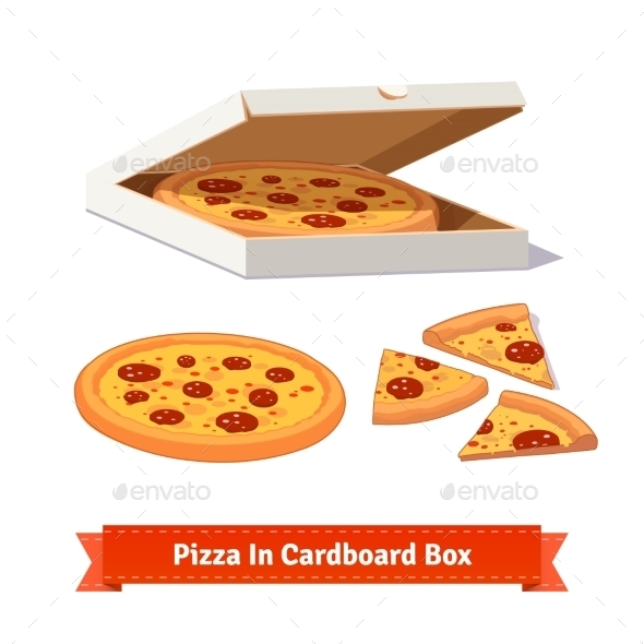 Pizza In The Opened Cardboard Box. Delivery - Food Objects