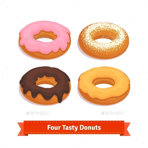 Four Tasty Flavoured Donuts With Glazing - Food Objects