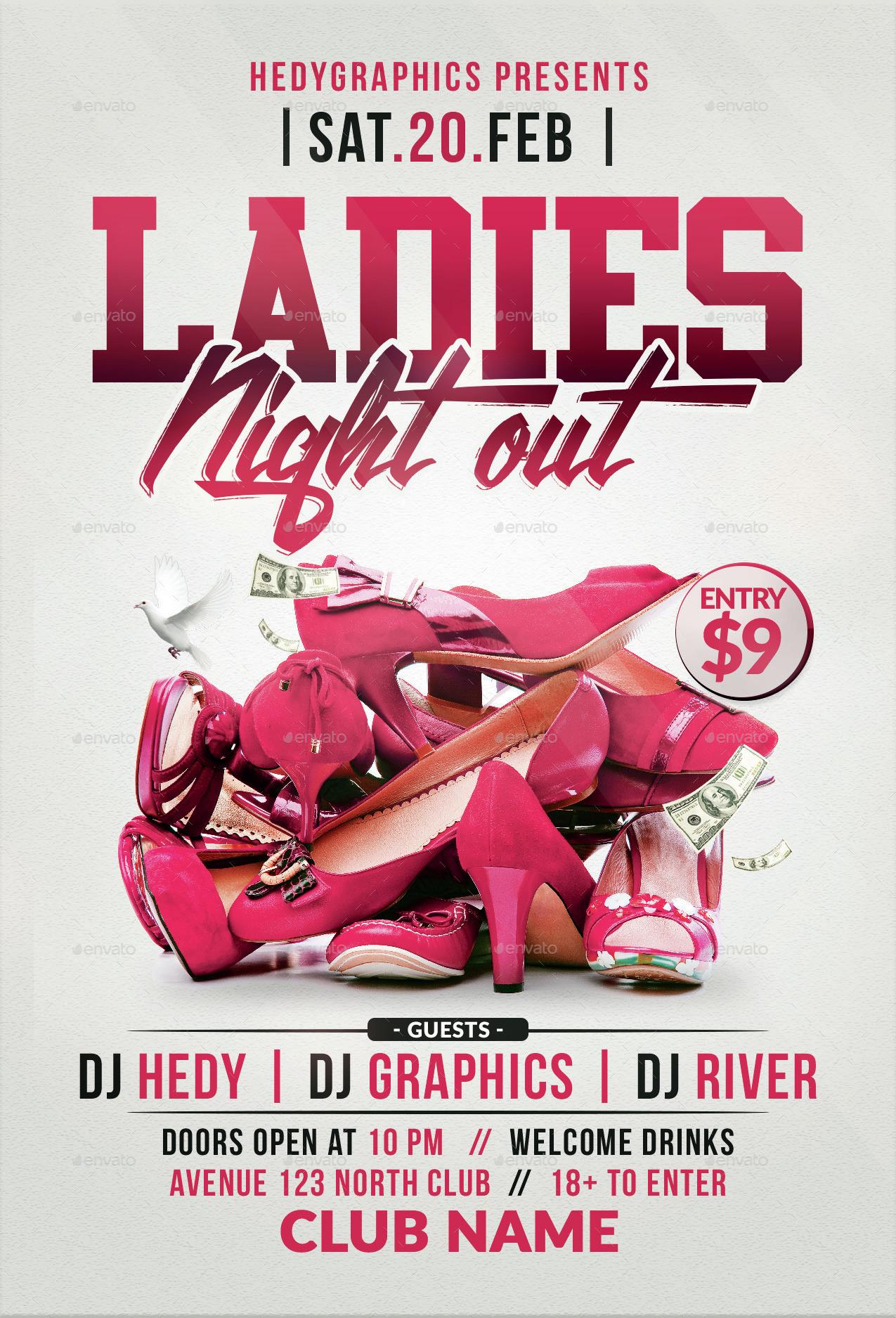 Ladies night flyer psd