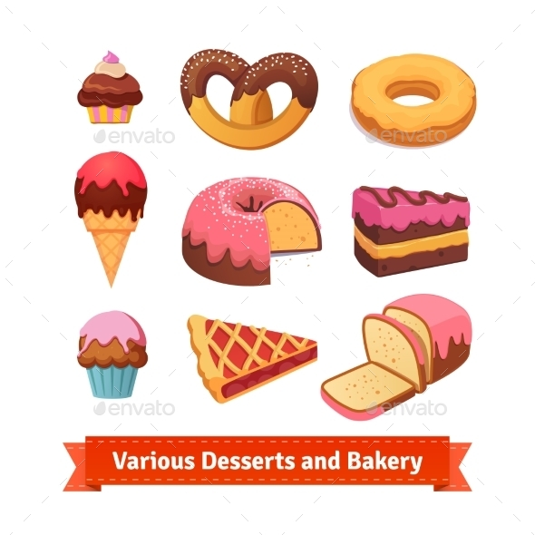 Various Desserts And Bakery - Food Objects