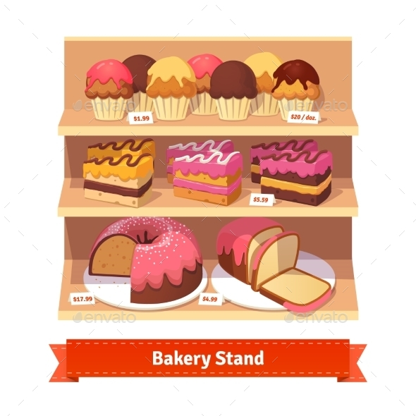 Bakery Shop Stand With Sweet Desserts - Food Objects