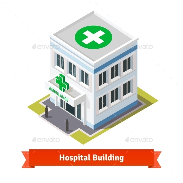 Hospital And Ambulance Building - Buildings Objects