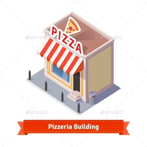 Pizza Restaurant And Shop Building - Buildings Objects