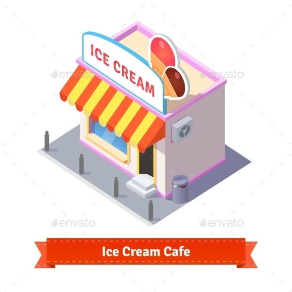 Ice Cream Restaurant And Shop Building - Buildings Objects