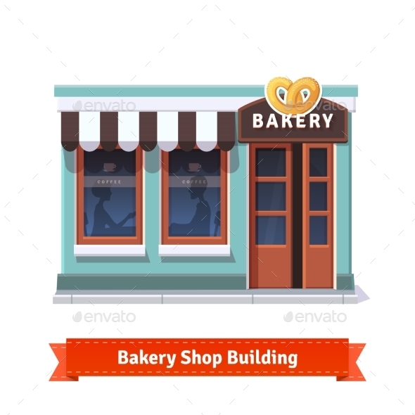Bakery Shop Building Facade With Signboard - Buildings Objects