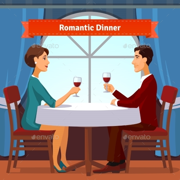 Romantic Dinner For Two. Man And Woman - People Characters