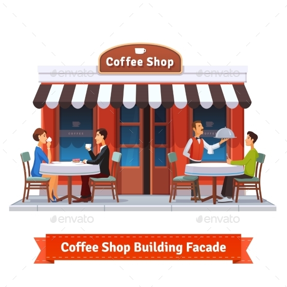 Coffee Shop Building Facade With Signboard - Concepts Business