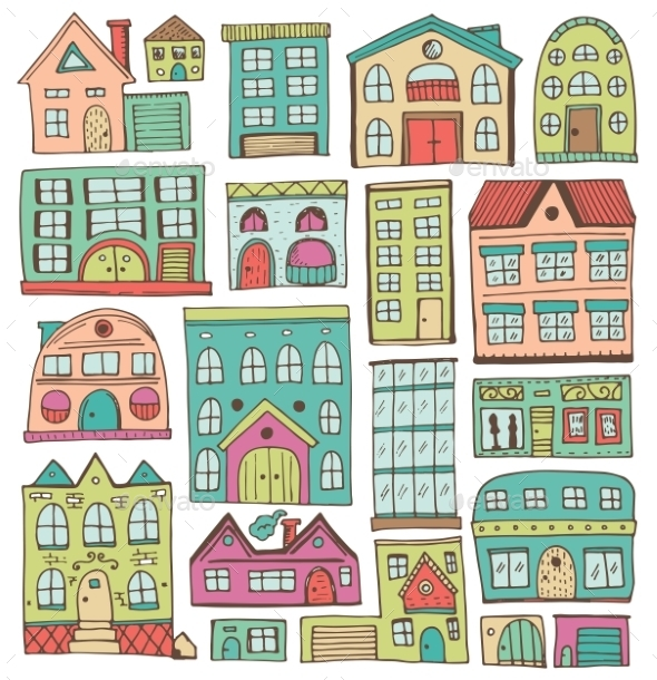 Sketch Set Of Houses In Doodle Style - Buildings Objects