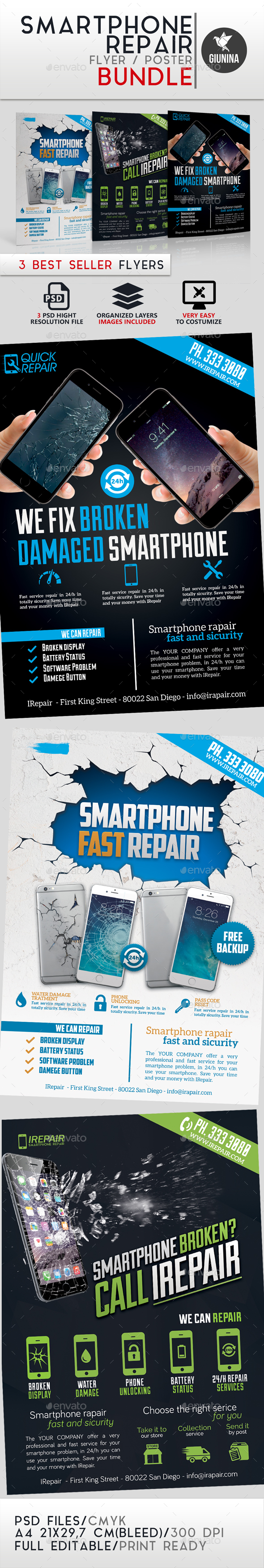 Smartphone Repair Flyer/Poster Bundle - Commerce Flyers